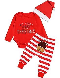 Ttkgyoe Mein erstes Weihnachten Baby M/ädchen Jungen Roten Romper Strampler Body mit Elefant Hosen Hut Outfit Set
