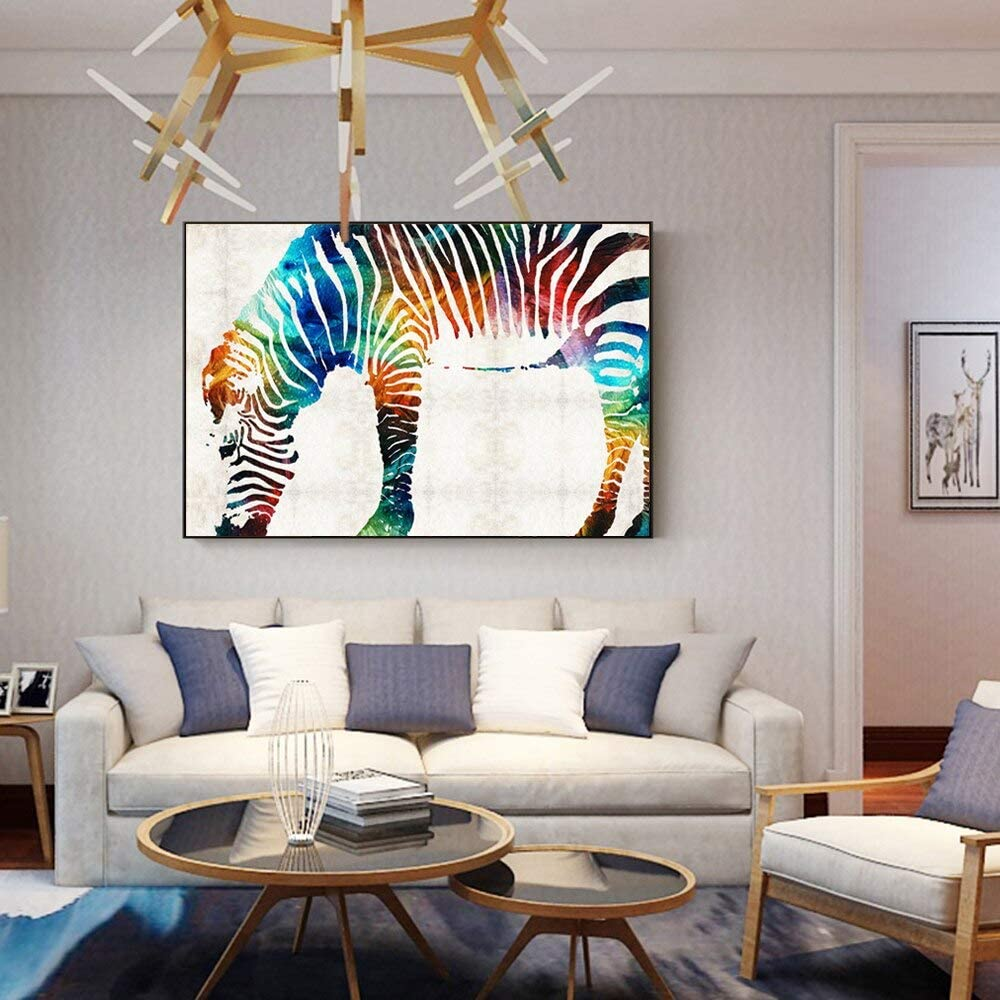 60Cm XCSMWJA Aquarell Zebra Wandkunst Leinwand Malerei An Der Wand Abstrakte Bunte Tiere Wohnkultur Bilder F/ür Wohnzimmer 40