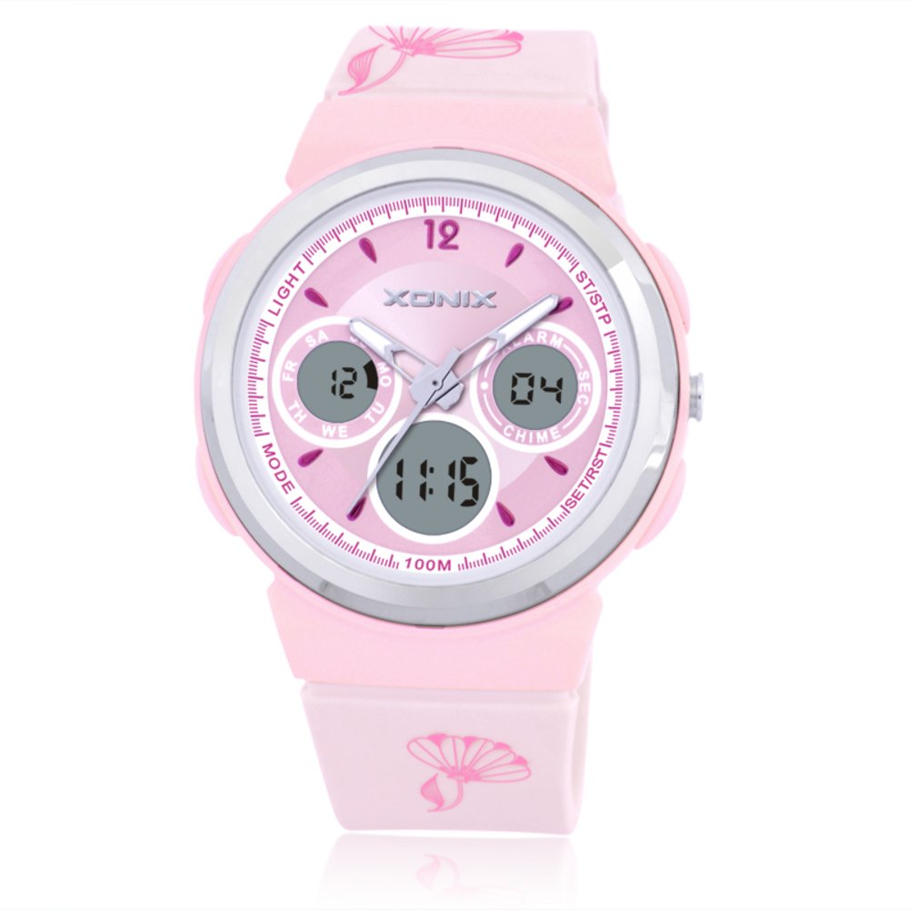 Children watch movement multifunction double show led waterproof girls digital watch-A