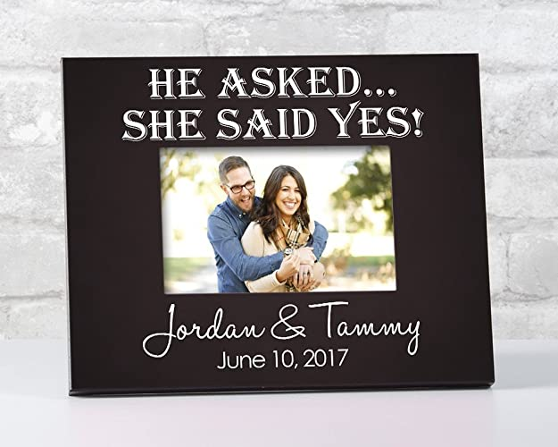 Amazoncom Personalized He Asked She Said Yes Engagement Picture