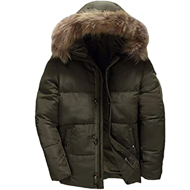 Men Coat Winter Abrigos para Men Hooded Fur Collar Down Coats,Army Green,M