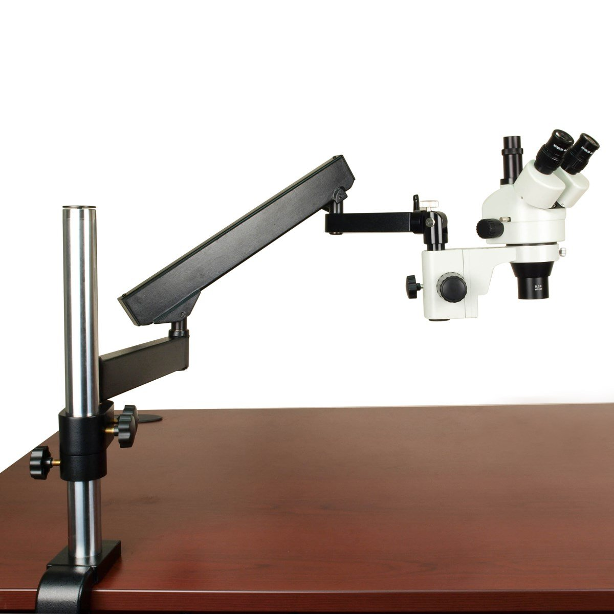 OMAX 2.1-45X Zoom Stereo Trinocular Microscope+Articulating Arm Stand by OMAX