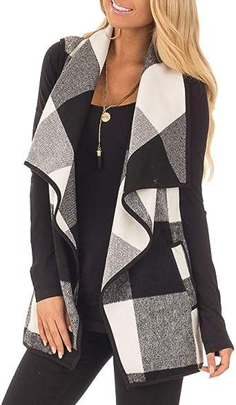 RNTOP Women Ladies Fashion Plaid Open Front Sleeveless Vest Cardigan Tunic Coat Pockets