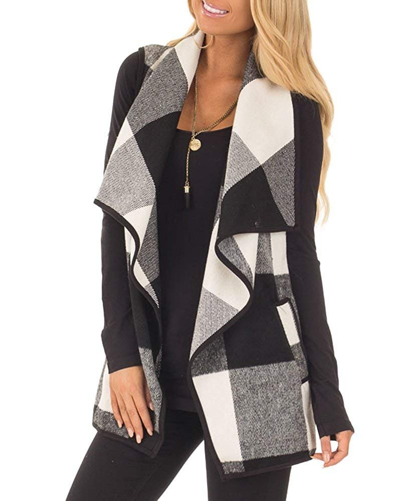Imysty Womens Sleeveless Plaid Vest Open Front Lapel Cardigan Jackets with Pockets