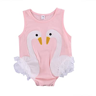 Cute Infant Baby Girl Sleeveless Swan Lace Bodysuit Romper Summer Outfit Clothes