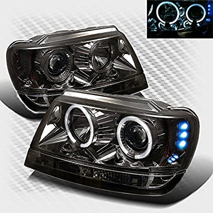 Smoked 1999 2004 Jeep Grand Cherokee Halo LED Projector Headlights Smoke  Head Lights Pair Left