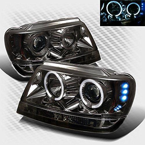 Smoked 1999-2004 Jeep Grand Cherokee Halo LED Projector Headlights Smoke Head Lights Pair Left+Right 2000 2001 2002 2003