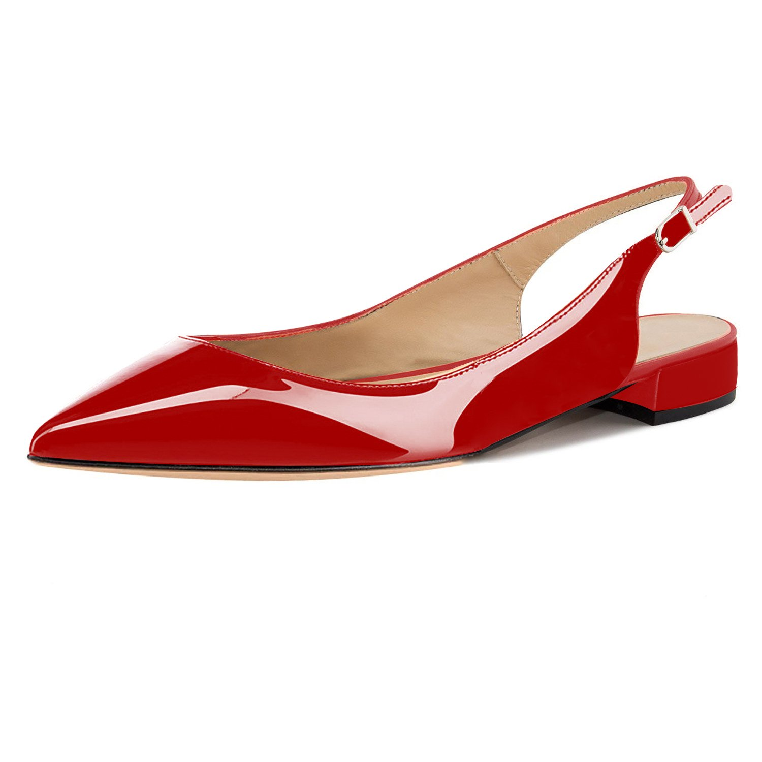 Eldof Women Low Heels Pumps | Pointed Toe Slingback Flat Pumps | 2cm Classic Elegante Court Shoes B07C4T4666 13 B(M) US|Patent Red