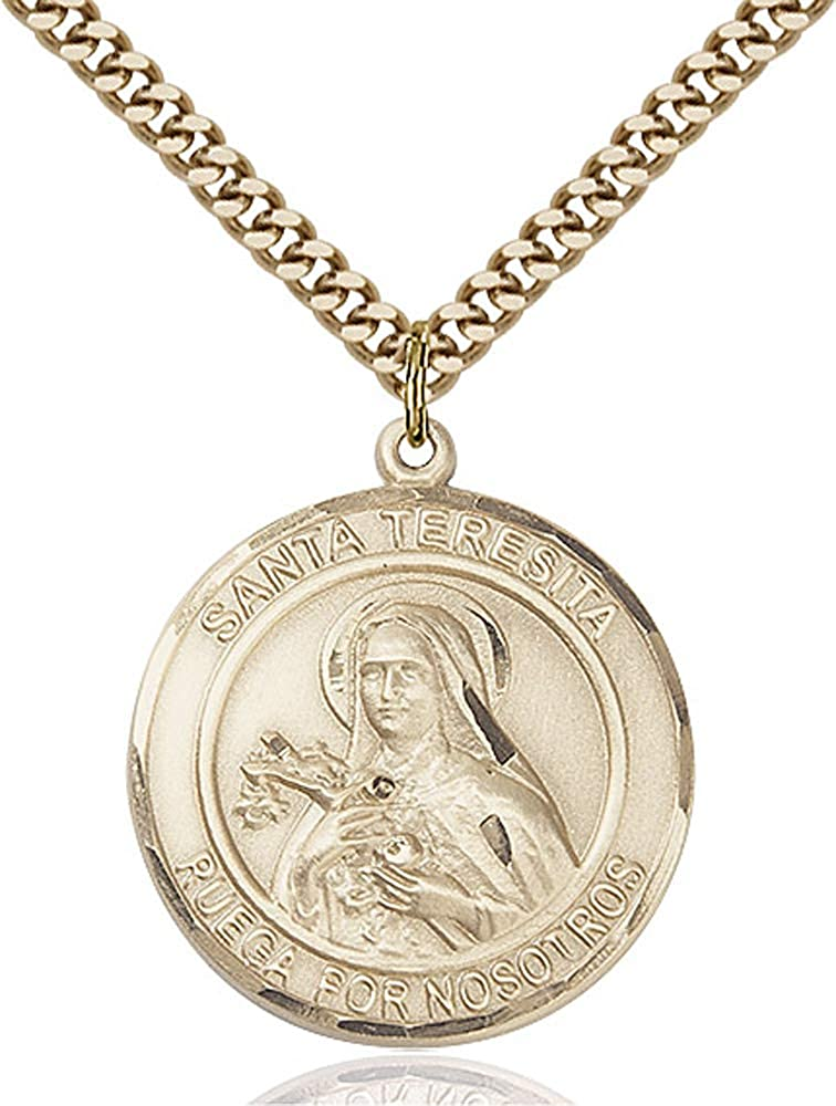 Gold Plate Heavy Curb Chain Patron Saint 1 x 5//8 14kt Gold Filled Santa Teresita Pendant