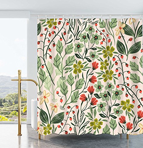 Ao blare Floral Leaf Shower Curtain Multi Flower Green Leaves Waterproof Polyester Fabric Shower Curtain 72x72Inch (Bold Curtain Fabric)