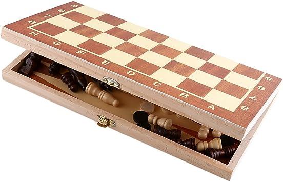 VGEBY1 Juego de Tablero de ajedrez, Juego de ajedrez de Madera ...