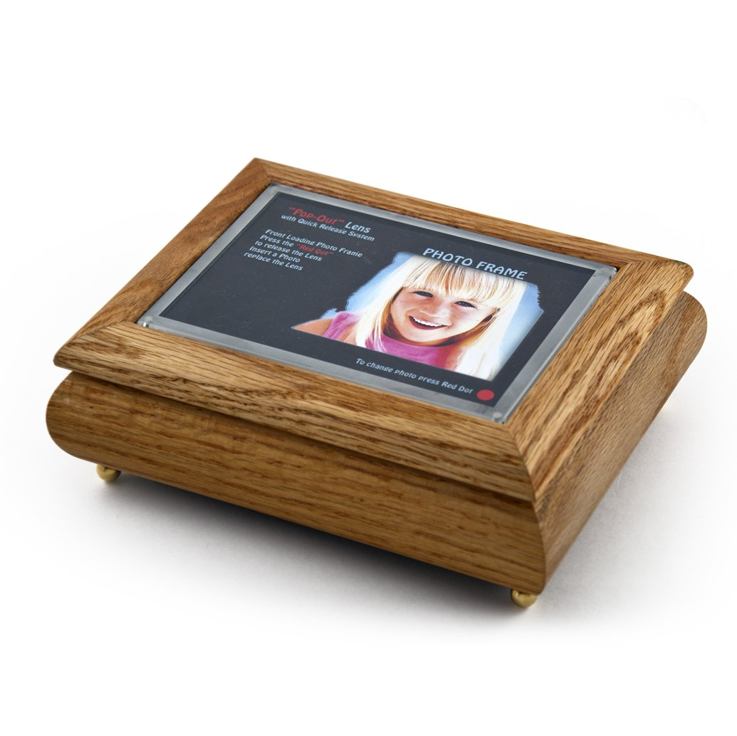 4'' X 6'' Oak Photo Frame Musical Jewelry Box With New''Pop - Over 400 Song Choices - Out'' Lens System School Oays