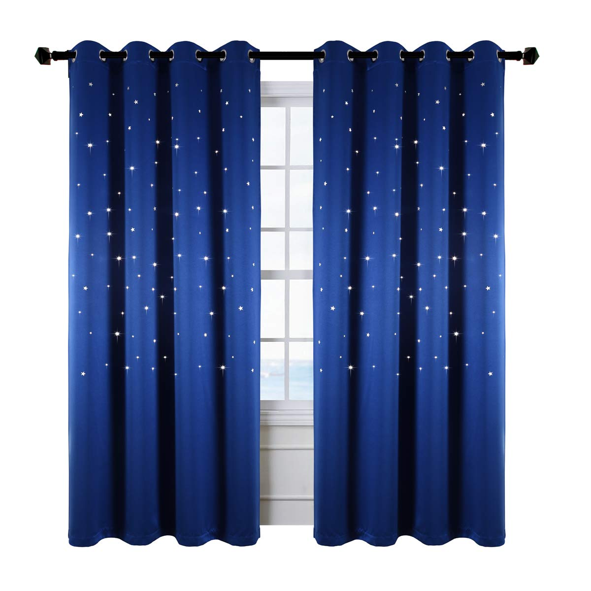 Grommet Top Blackout Curtains for Space Theme Bedroom, Kotile 2 Panels Thermal Insulated Glitter Stars Luxurious Soft Window Panels with Die Cut Twinkle for Kids Room (W52 X L84 inches, Royal Blue)