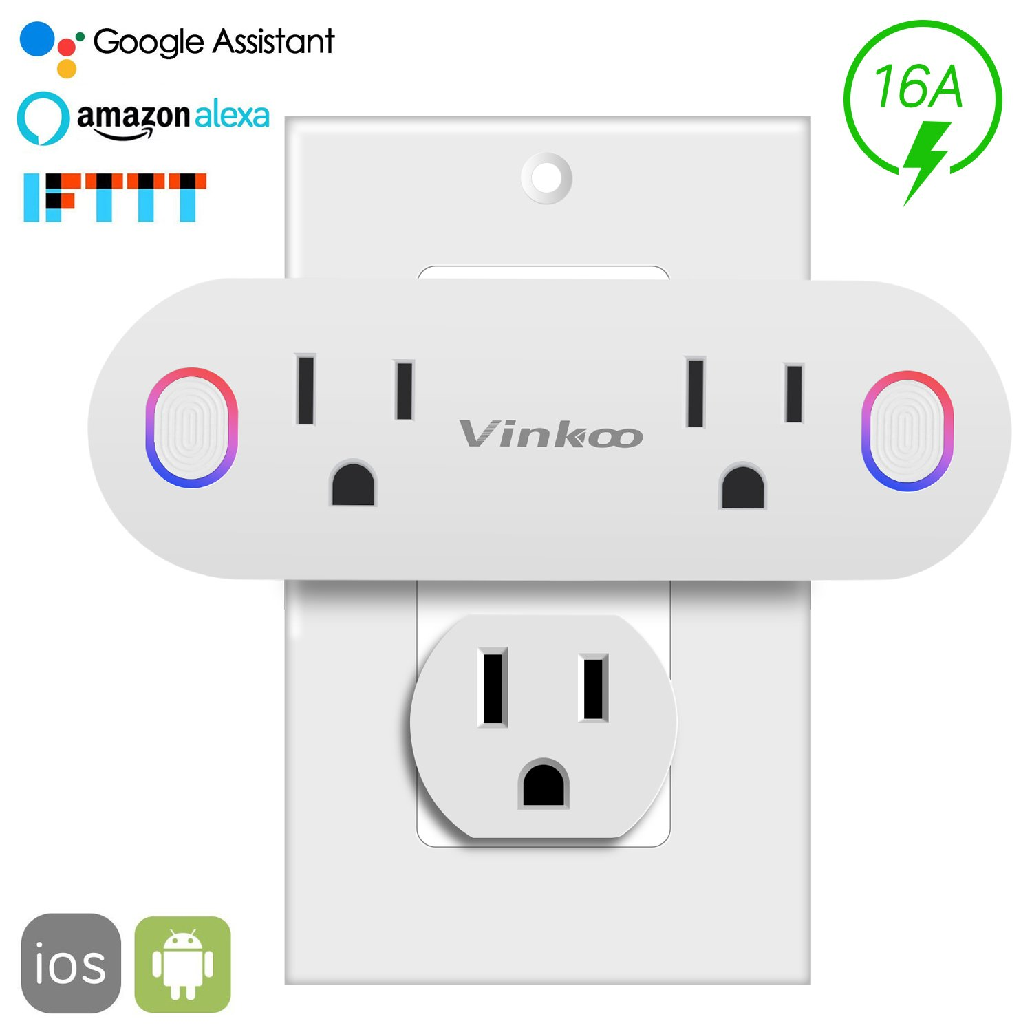 Smart Plug,VinKoo Wifi Outlet 2 in 1 Smart Outlet Compatible with Alexa and IFTTT Google Home No Hub Required with Timer Energy Monitoring Can Work Individually or in Groups (Nanx-1 Pack)