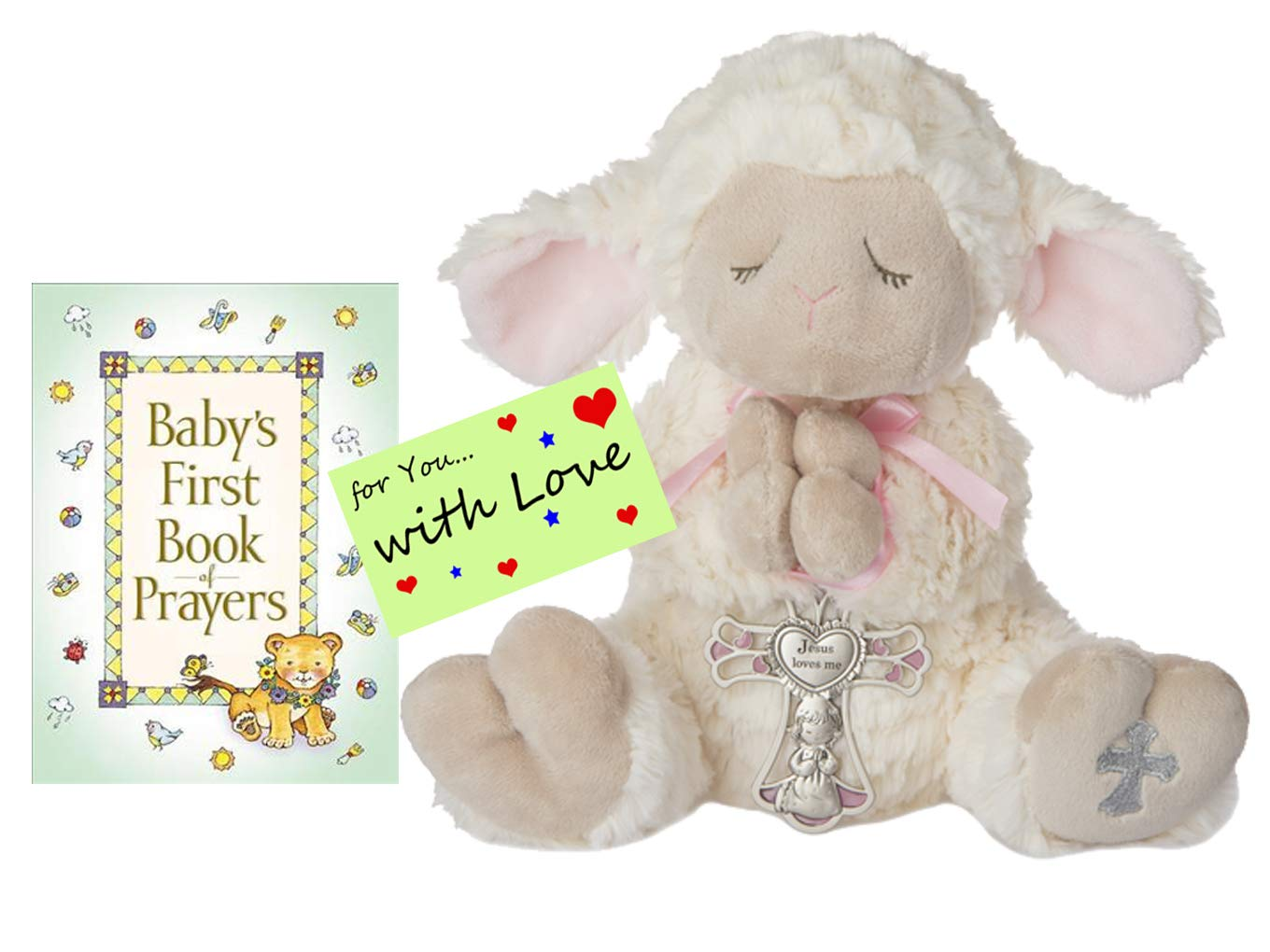 Baptism Christening Gifts for Girls Serenity Prayer Lamb w/Crib Cross and Book of Prayers w/Gift tag(Pink Girl)