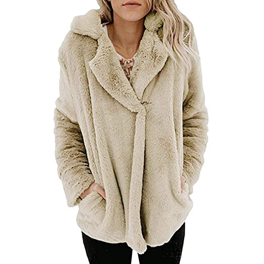 591b29e7422 Seaintheson Womens Fashion Fleece Winter Fuzzy Casual Open Front Long  Sleeve Jacket Coat with Pockets Outerwear