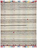 Stone & Beam Contemporary Colorful Fringe Wool Rug, 8' x 10', Tan Multi