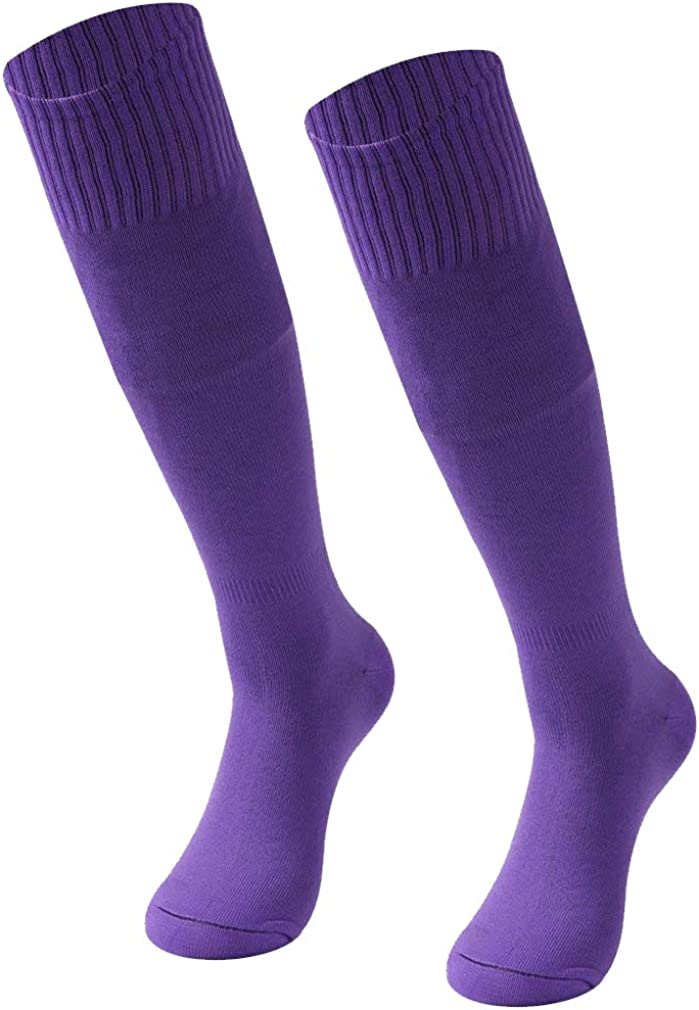 RTZAT Unisex Solid Knee High Tube Team Sports Football Socks 2,6,12 Pairs Soccer Socks
