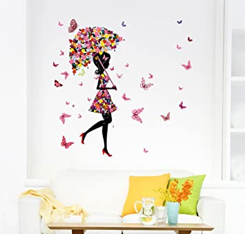 Buy Decals Design Floral Umbrella Girl and Butterflies Wall