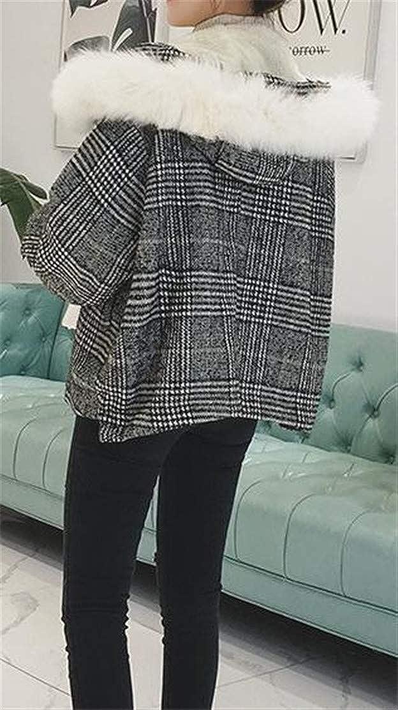 Pandapang Womens Plaid Pocket Fleece Hoodid Classic Wool Blend Coat Jacket
