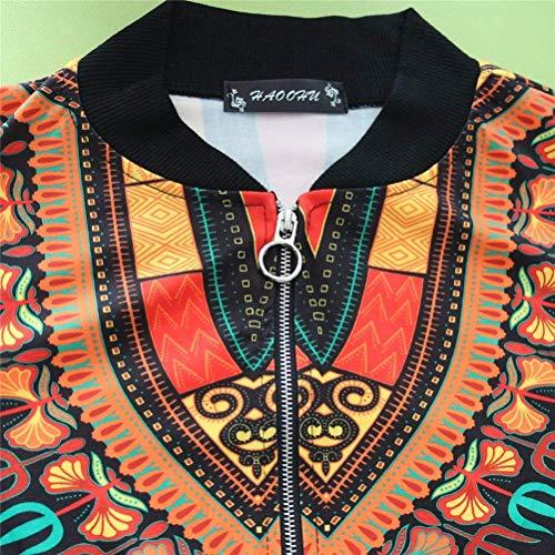 Slim Stile Tasche Coat Vintage Cerniera Cappotto Lunga A Primaverile Giaccone Schwarz Manica Fit Giacca Autunno Con Outerwear Donna Chiusura Ragazza Stampato Etnico wE0ZRq