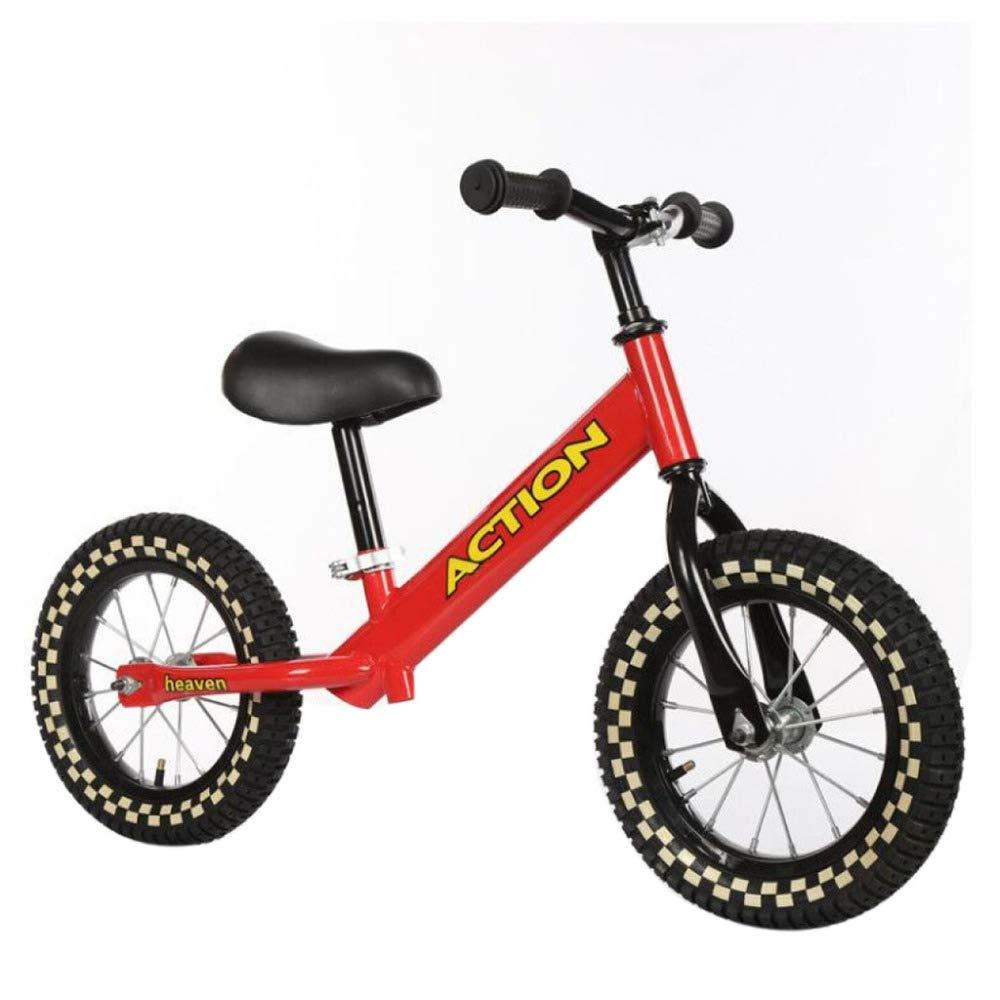 YSH 12-Zoll-Baby-Balance-Fahrrad High-Carbon-Stahl Kinder-Balance-Bike Mit Adjust Sitz Und Griff Kein Pedal Bike,ROT-12& 039;& 039;