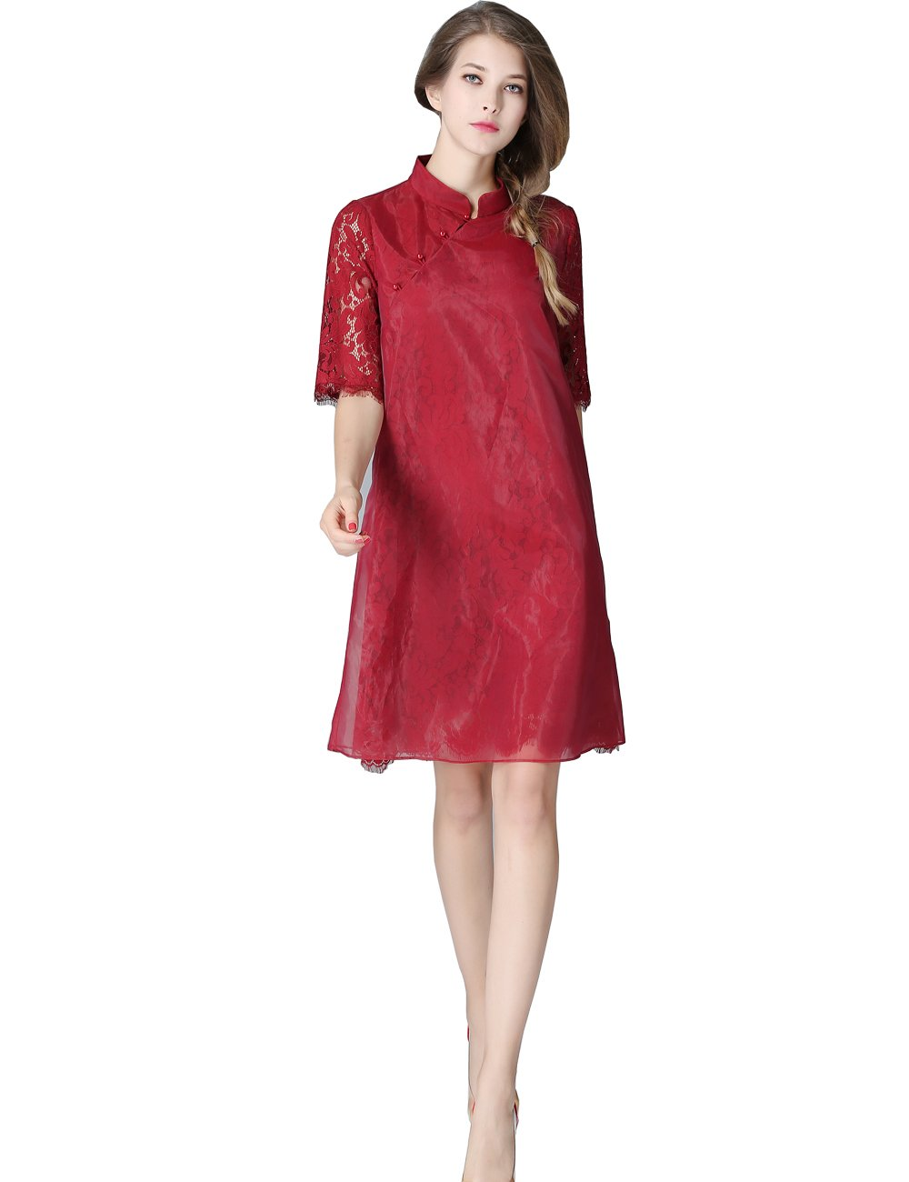 Olisi Women's Elegant Cheongsam Lace Dress Glass Yarn Cover Pearl Buttons with Half Sleeves Robe Dress (M, Red) by Olisi