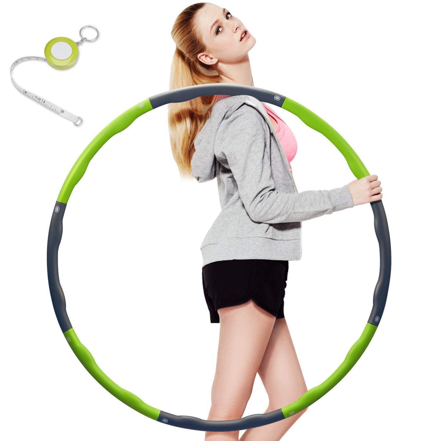 Kuyou Hula Hoop, Folding Fitness Wave Weighted 0.9 kg (2lbs) Adujustable Width 48-88cm (26.8-34.6in) for Youth Adults Ladies GYM Exercise (4 knots green + grey) with Waist Ruler