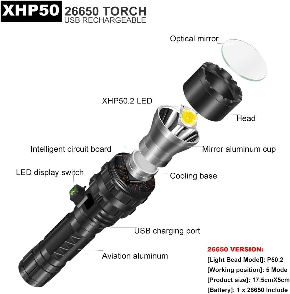 Linterna LED recargable 5 modos pesca caza bater/ía 26650 incluida senderismo linterna impermeable con XHP50.2 4600 l/úmenes 26650 Version camping m/ás potente para emergencia