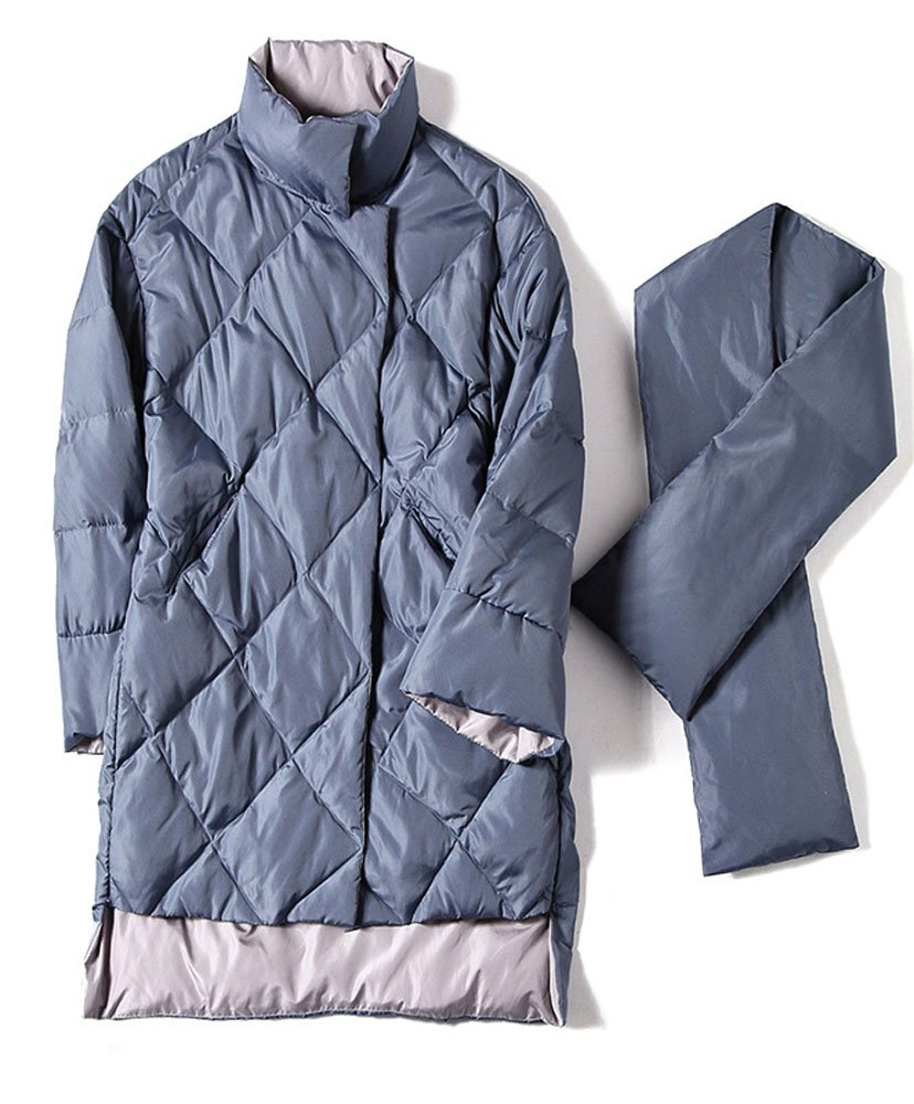 Allonly Women's Light Weight Loose Fit Stand Collar Long Puffer Jacket Down Coat With Scarf
