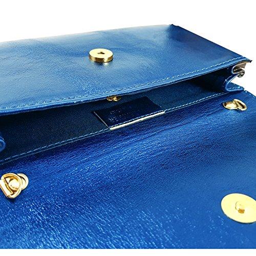 Italy Freyday Metallic Pochette in pour Made Royalblau femme 44fwErUnxq