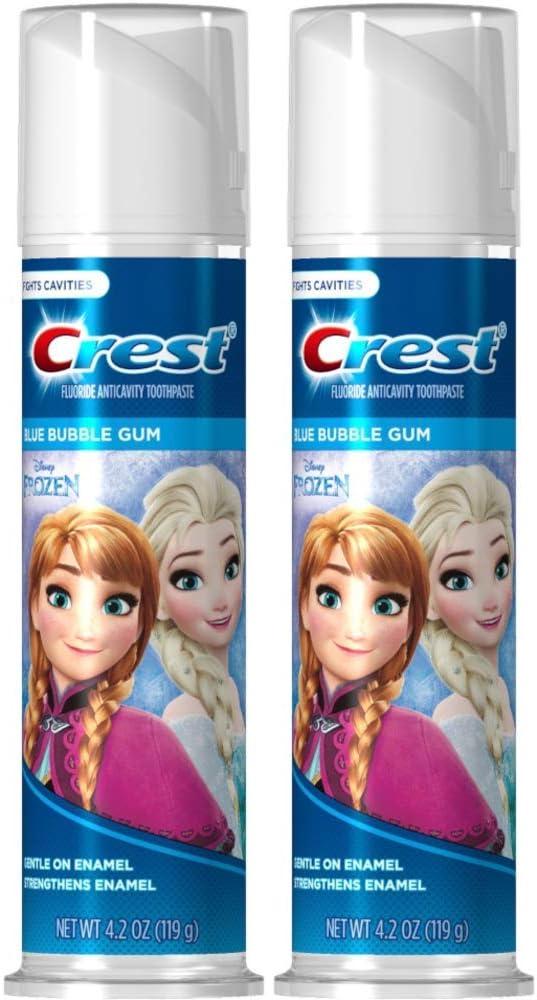 Disney's Frozen Crest Kid's Cavity Protection Toothpaste, Blue Bubble Gum, 4.2 Ounces Each (Value Pack of 2)