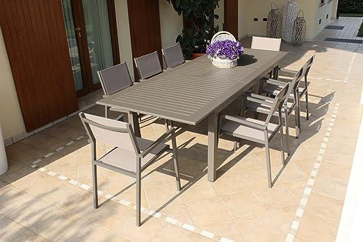MILANI HOME Mesa de Exterior Extensible 220/280 x 100 cm con 4 ...