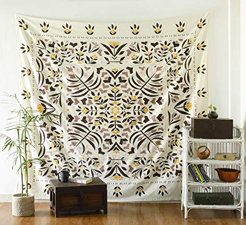 Labhanshi Harlow Folk Floral Tapestry - Mandala Wall Hanging - Hippie Bohemian Wall Decor Art - Boho Queen Size Indian Cotton Bedspread ()