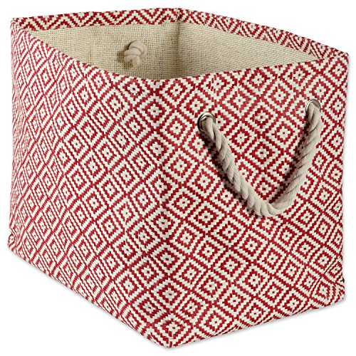 """Collapsible Blanket - DII Woven Paper Storage Basket or Bin, Collapsible & Convenient Home Organization Solution for Office, Bedroom, Closet, Toys, Laundry (Large - 17x12x12""""), Rust Geo Diamond"""