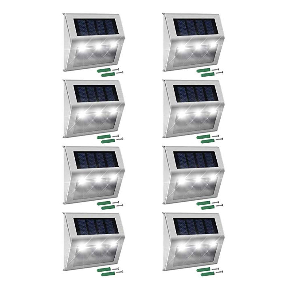 Outdoor Solar Step Lights, 8-Pack 3 LEDs Weatherproof Lighting Stainless Steel for Steps Stairs Paths Patio Decks Walkway Garden Yard #3101