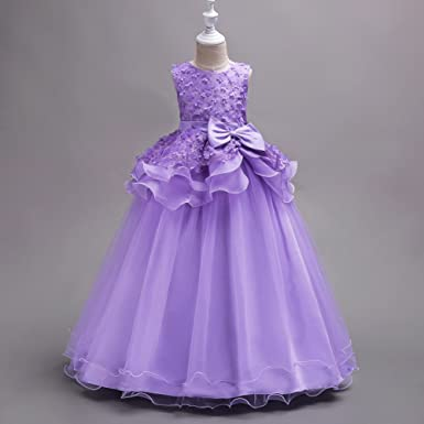 Amazon.com: ACSUSS Toddler Kids Girls Princess Petals Floral Lace Ruffled Flower Dress Floor Length Ball Gown: Clothing