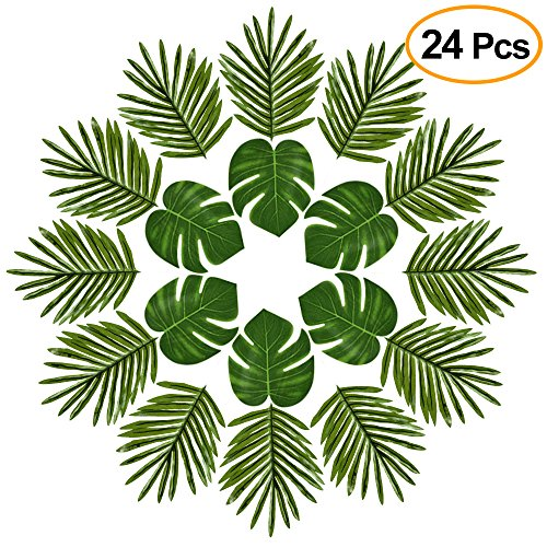 KUUQA 24 Pcs Tropical Palm Leaves Luau Party Decoration Artificial Simulation Tropical Monstera Plant Leaves for Hawaiian Safari Jungle Beach ThemeBeach Theme BBQ Party Decorations Supplies (2 Styles) by KUUQA