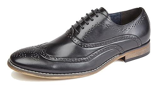 Zapatos Brogue Oxford con forro interior de piel, para hombre, con 4ojales, color Marrón, talla 45 EU