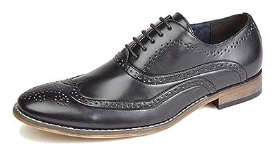 Zapatos Brogue Oxford con forro interior de piel, para hombre, con 4ojales, color Marrón, talla 44