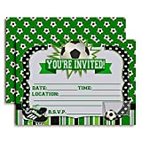 Soccer Birthday Party Invitations, Ten 5''x7'' Fill In Cards with 10 White Envelopes by AmandaCreation