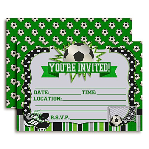 Soccer Birthday Party Invitations, Ten 5''x7'' Fill In Cards with 10 White Envelopes by AmandaCreation by Amanda Creation