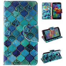 Samsung Galaxy S5 Case, Kmety Blue Diamond PU Leather Wallet Type Magnet Design Flip Case Cover Credit Card Holder Pouch Case for Samsung Galaxy S5