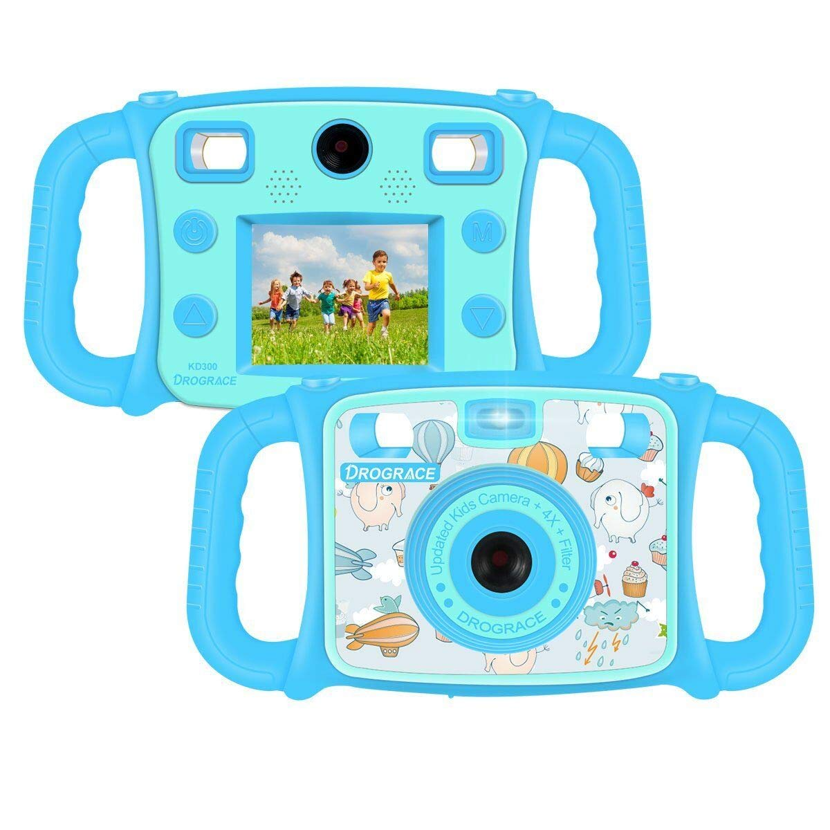 DROGRACE Kids Camera 1080P HD Kids Digital Video Camera Selfie Camera Sports Cam for Boys Birthday Holiday Gift Children Camera with 2 inch LCD Screen – Blue