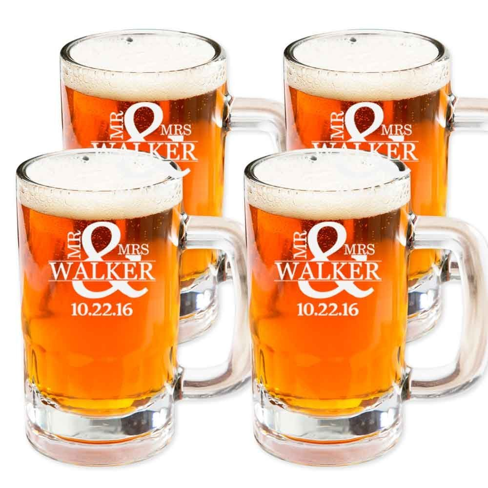 Beer Mug Glasses Set of 4 by Personalized Froolu Customized Beer Mug Stein 14Oz Glasses For Housewarming, Wedding Gifts