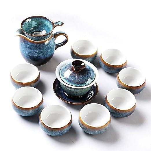 Juego de té de cerámica nuevo horno de plata esmalte de cerámica ...