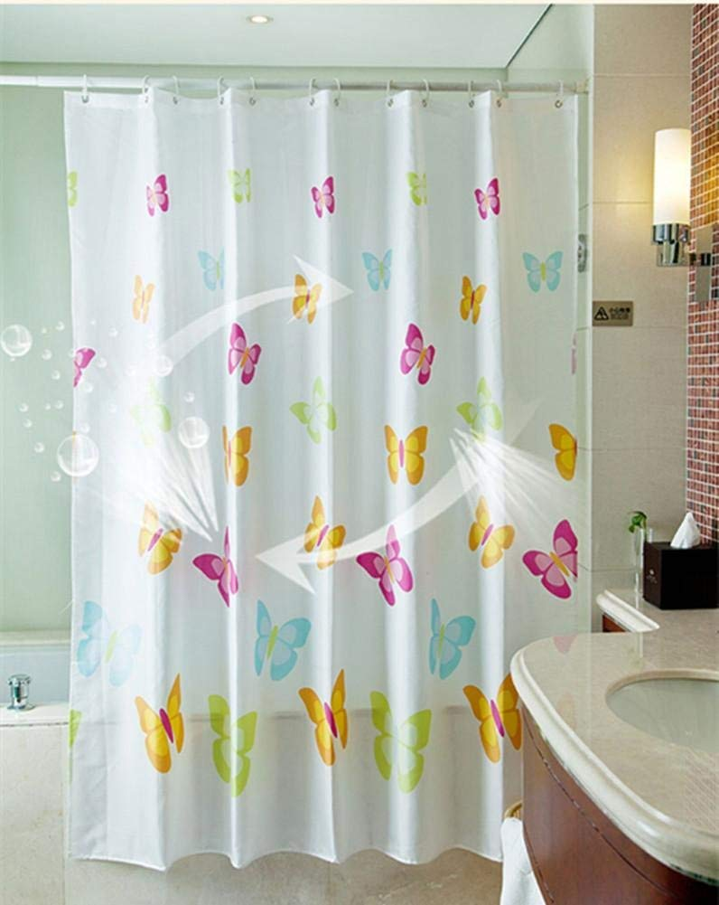 JaHGDU Shower Curtain 1pcs Printing Shower Curtain Waterproof Polyester Fabric Durable Partition Toilet Shade Super Quality Opaque Bathroom Amenities (Size : Color Butterfly 220180) by JaHGDU (Image #1)
