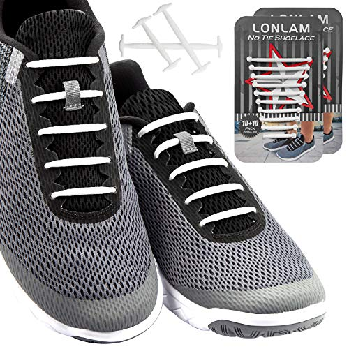 LONLAM [Upgrade] No Tie Shoelaces (Round Stretch Strings) Silicone Elastic Bungee Rubber Laceless Lazy Tieless Shoe Laces for Adults Kids Toddlers, Sneakers Athletic Running Boot Dress Shoes (White)