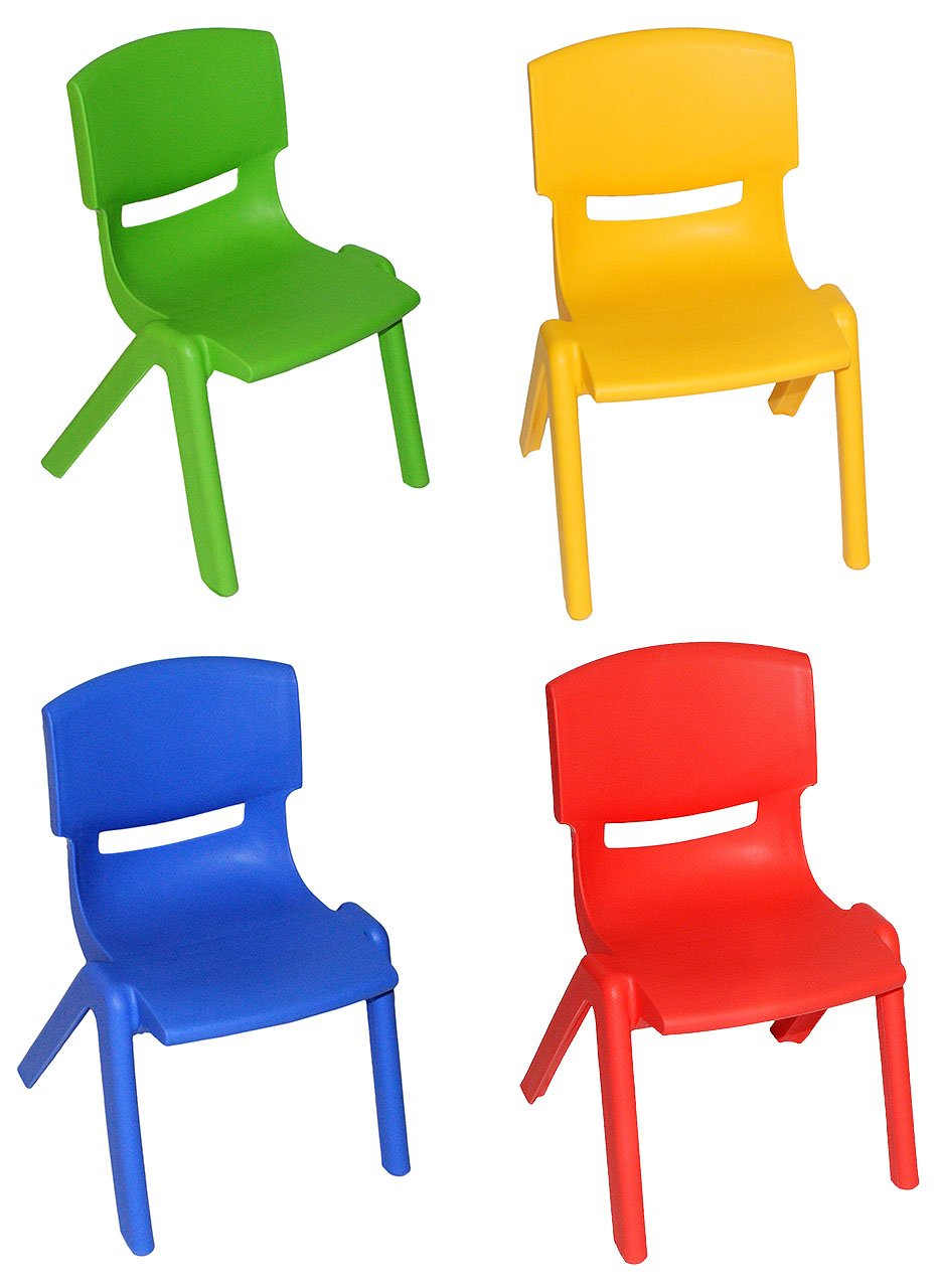 4 tlg. Set: Stühle - BLAU + ROT + GELB + GRÜN - incl. Name - für INNEN & AUßEN - stapelbar / kippsicher / bis 100 kg belastbar - Kindermöbel für Mädchen & Jungen - Plastik / Kunststoff - Stuhl Kinderstühle / Kinder