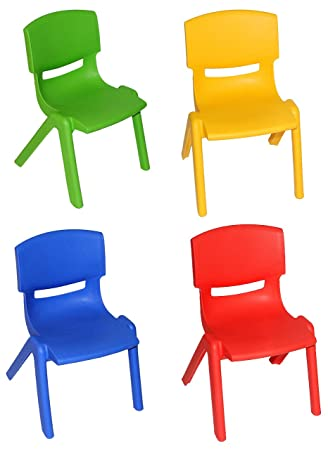 Kinder Plastikstuhl 4 tlg set kinderstühle blau rot gelb grün bis 100 kg